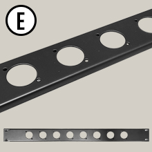 AxcessAbles RKINPUT1U Universal 1U Rack Panel Spacer with 8 D-Series Punch-Outs
