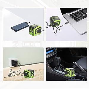 2. Batterie au lithium rechargeable intégrée: ¡ñBatterie Li-ion 3,7V/1500mAh: Fournit jusqu'à 10 heures d'autonomie continue lorsqu'il est complètement chargé. ¡ñPort de charge de type-C: Le niveau laser peut être chargé par l'ordinateur portable, la banque d'alimentation, le chargeur de voiture, etc. Avec la fonction de protection de l'alimentation, vous pouvez utiliser le câble de charge et l'adaptateur de votre téléphone Android pour charger l'outil laser. ¡ñIl est recommandé de charger pendant plus de 4 heures avant utilisation.