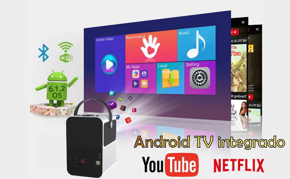proyector con android, proyector con netflix, proyector portátil, mini proyector, multimedia, pc