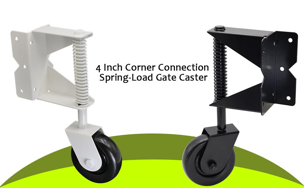 Dr.Luck 4 Inch Black Corner Spring-Load Gate Wheel Caster Hard Nylon Wheel Swivel Style Corner Connect 7 Holes Side-Mount Plate Install w// 7 Screws Heavy Duty 135Lbs Load Capacity
