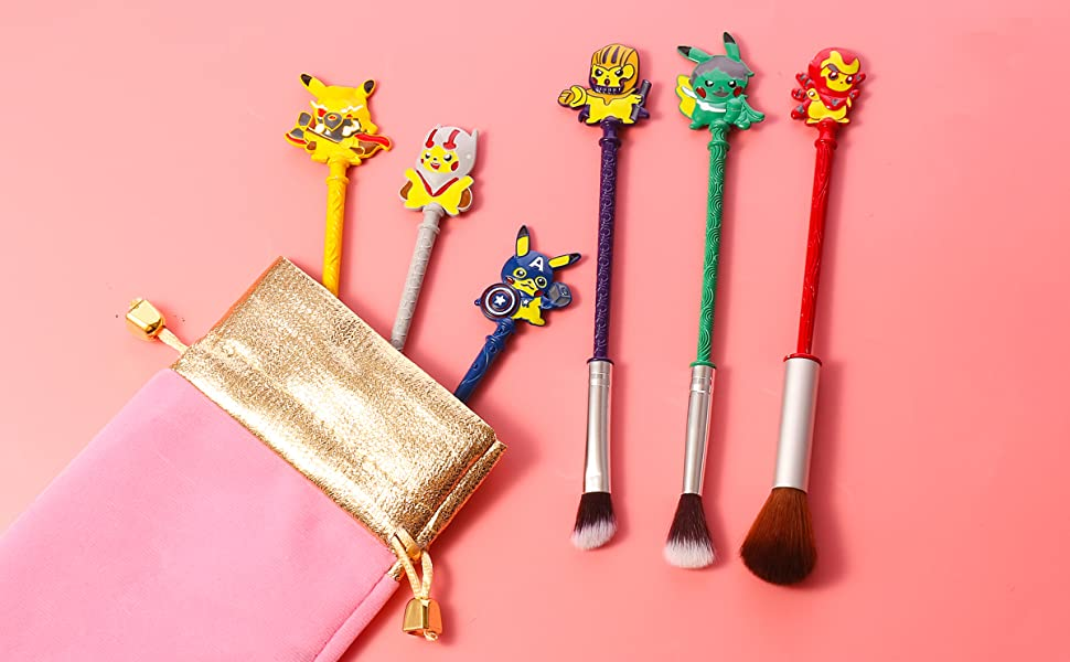 Amazon Com Pokemon Wand Makeup Brushes Set 6pcs Wand Makeup Brushes With Premium Synthetic Fiber And Cartoon Handle For Blush Foundation Eyebrow Eyeshadow And Lips Prefect For Sister Pokemon Beauty