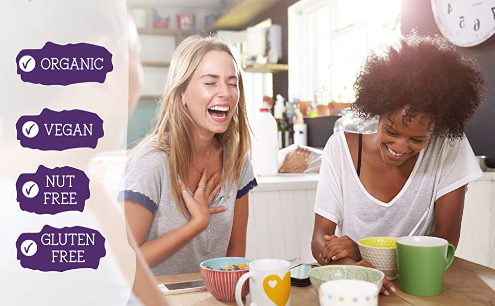Women laughing together along with a list of product features