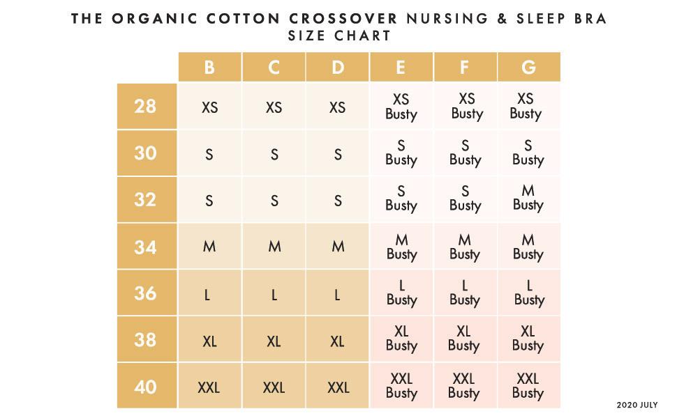 Organic Cotton nursing bra size chart