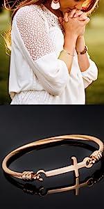 Rose Gold Plated Sideways Cross Bracelet Cuff Bangle
