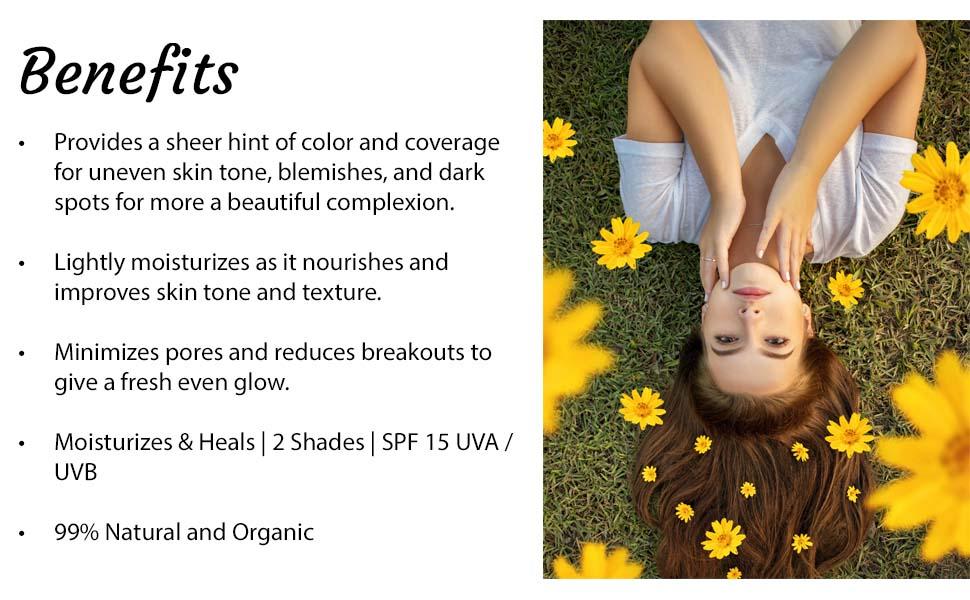 benefits: lightweight face moisturizer, reduce pore size, light coverage, spf face moisturizer