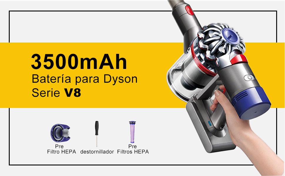 FLYLINKTECH 3500mAh Batería de Repuesto para Dyson V8, 21.6V Li-Ion Compatible con Dyson V8 Absolute Fluffy Animal Series V8 SV10 Aspirador con 2 Filtros, 1 Tournevis: Amazon.es: Hogar