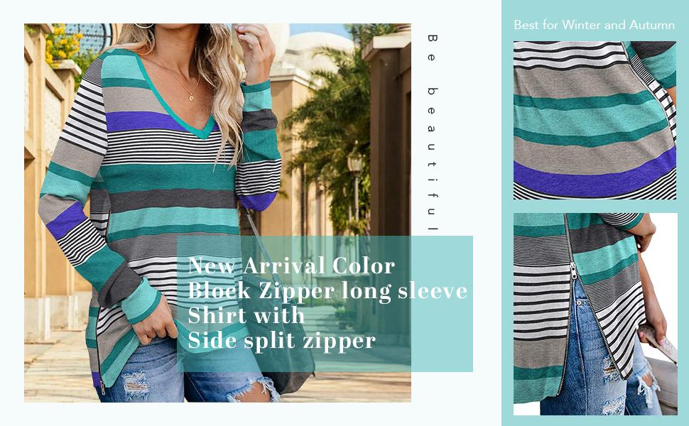 Long Sleeves Sweatshirts Tops Basic T-Shirt Split Blouse with Side Zipper