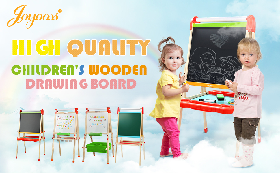 easel - Joyooss Kids Wooden Easel With Extra Letters And Numbers Magnets, Adjustable Double Sided Drawing Board Whiteboard & Chalkboard Dry Easel Board, Children Art Easel For Boys Girls Painting Drawing