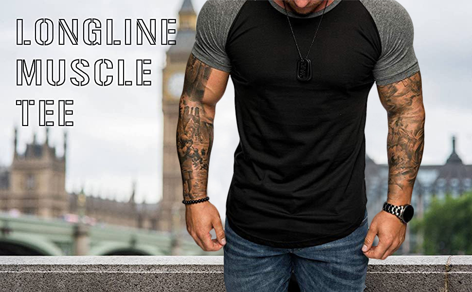 mens muscle tee gym t-shirts black grey athletic tees
