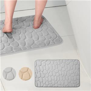 DECORUS Memory Foam Bath Mats Non Slip Cobblestone Bath Rugs Super Absorbent Bathroom Mats Machine-Washable Cozy Bath Mats for Bathroom