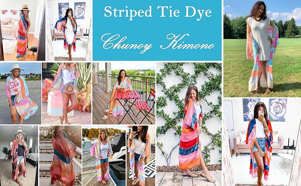 Chunoy Women Striped Tie Dye Kimono Short Sleeve Casual Cardigan Loose Cover Up
