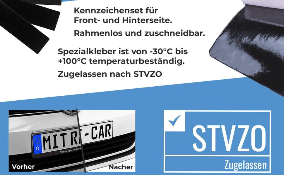 2 X Klett Car Auto Und Motorrad Kennzeichenhalter Set Rahmenlos Nummernschildhalterung Für Alle Gängigen Kfz Absolut Unsichtbarer Nummernschildhalter Auto Kennzeichen Halterung Unsichtbar Auto