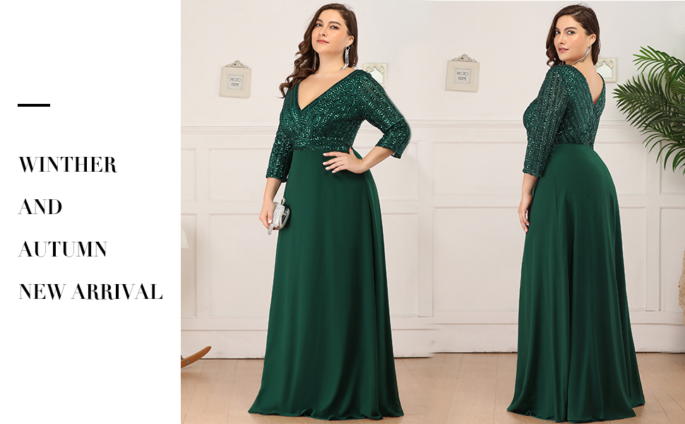 Ever Pretty Long Sleeve A-line Chiffon Deep V-neck Sequin Wedding Guest Gowns for Women Formal Party
