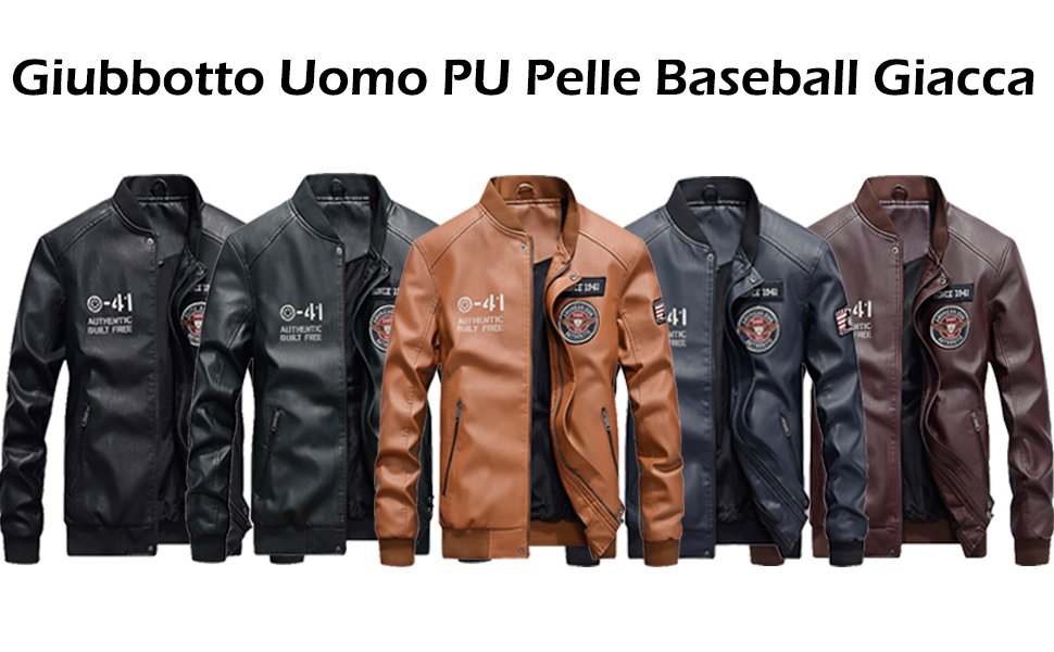 Vogstyle Uomo Nuovo PU Pelle Baseball Giacca Casual Zip Cappotto Jacket