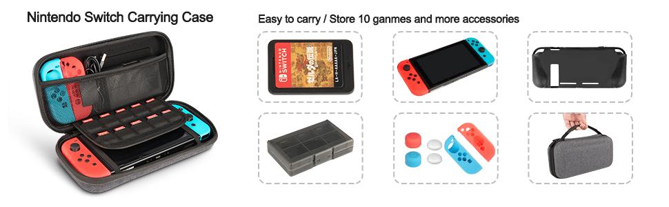 innoAura 11 en 1 Kit accesorios para Nintendo Switch, con funda de ...