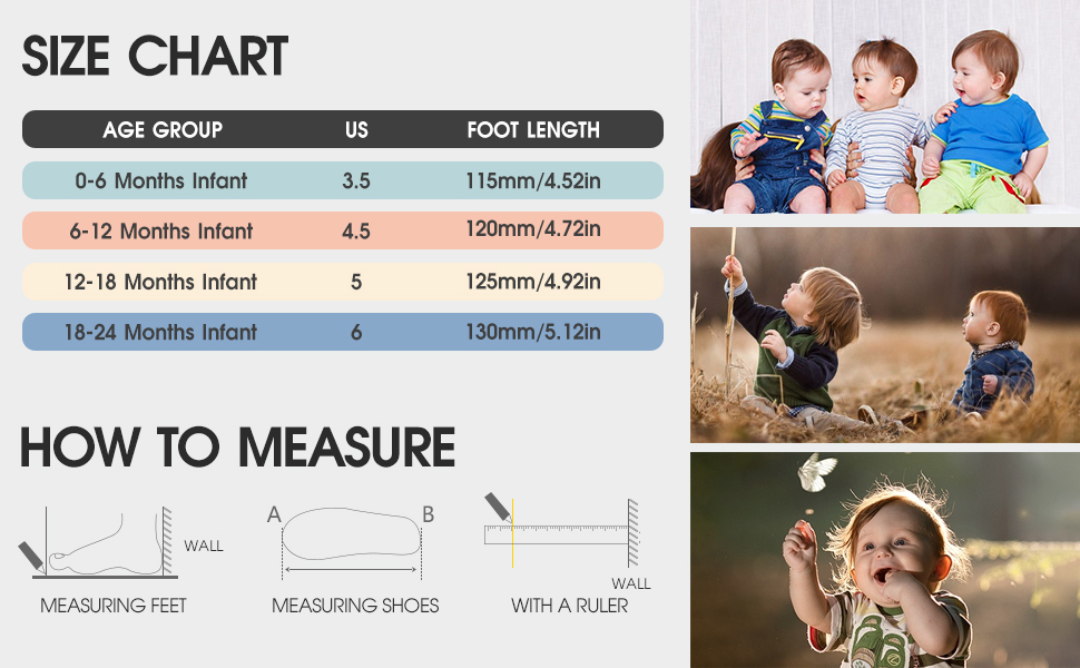 size chart guide infant baby sock shoes
