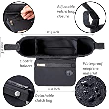 Universal stroller organizer with cup holders and detachable wristlet