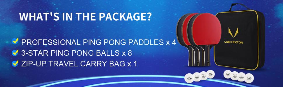 PING PONG PADDLES SET OF 4