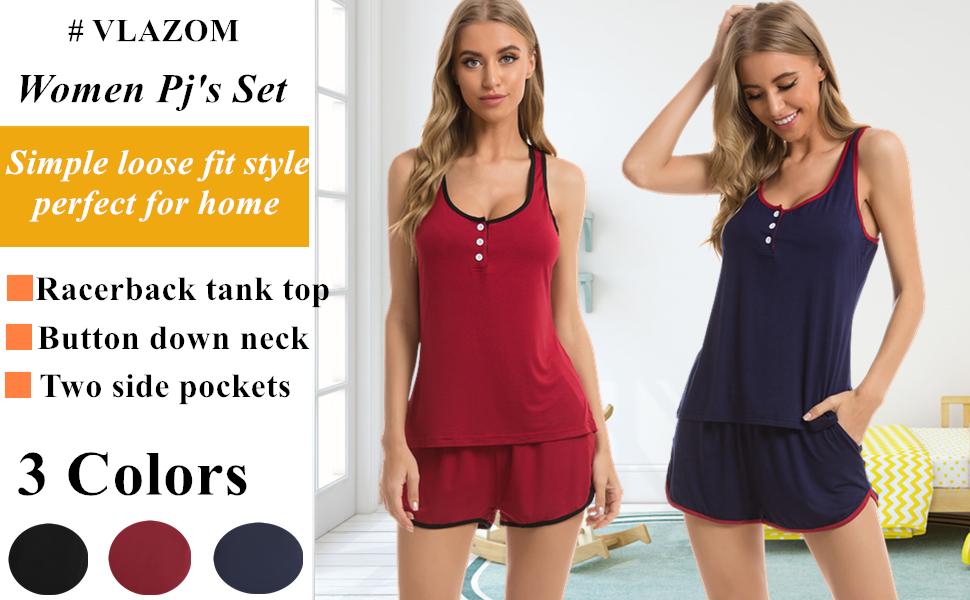 Vlazom Womens Pyjama Sets Cotton Cami Shorts Set V-Neck Summer Pjs Set Nightwear with Pockets S-XXL