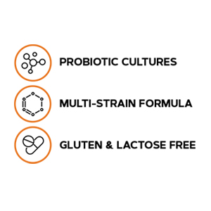 A multi-strain, gluten free and lactose free formula with probiotic cultures