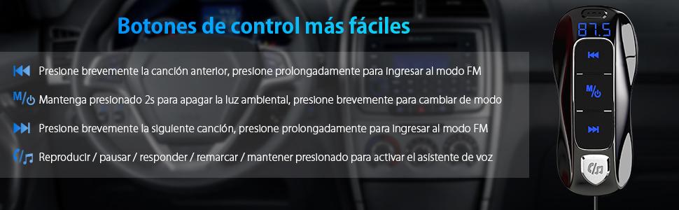 SONRU Más NuevoTransmisor FM Bluetooth 5.0, Manos Libres y ...