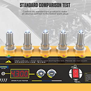 Car Spark Plug Tester, Automotive Dual Holes Ignition Plugs System Analyzer with Protective Cover