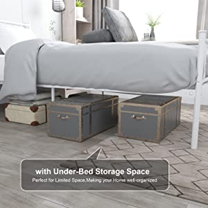 bed with storage  SimLife Single Bed Platform Kids Boys Adult No Box Spring Needed Princess White Twin Size Bed Frame with Headboard and Footboard Mattress Foundation 098db3af ff16 423f bf30 43578a82636d