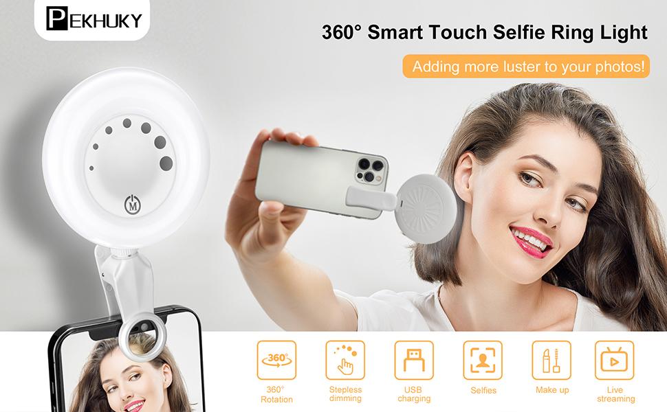 A girl takes selfies