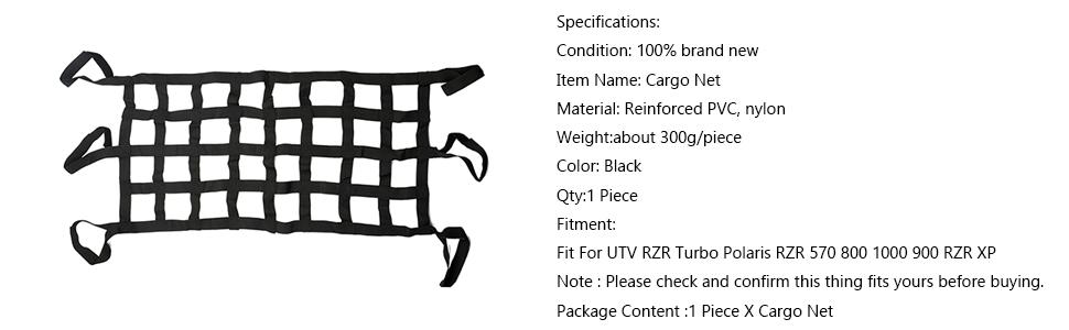 MASION Cargo Net Extra Storage Restraint for UTV RZR Turbo Polaris RZR 570 800 1000 900 RZR XP Jeep Wrangler TJ JK 1997-2017