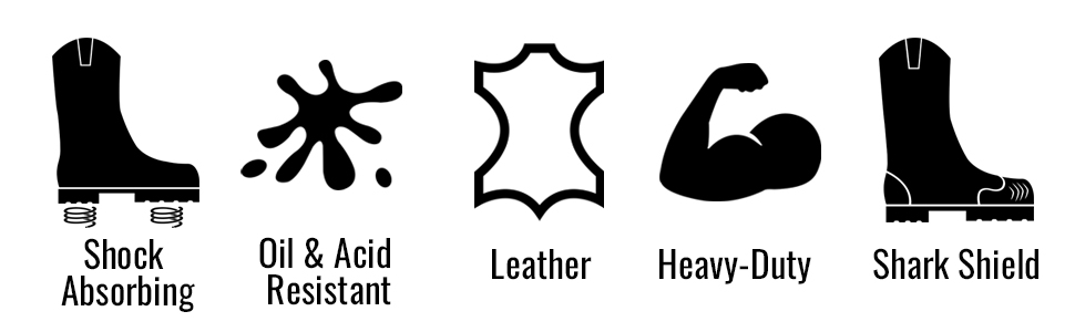 SHOCK ABSORBING, OIL AND ACID RESISTANT, LEATHER, HEAVY DUTY, SHARK SHIELD