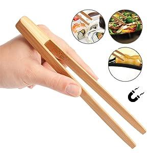 t/é 15 pinzas de bamb/ú para tostadas de madera para tostar pan servir comida y carne