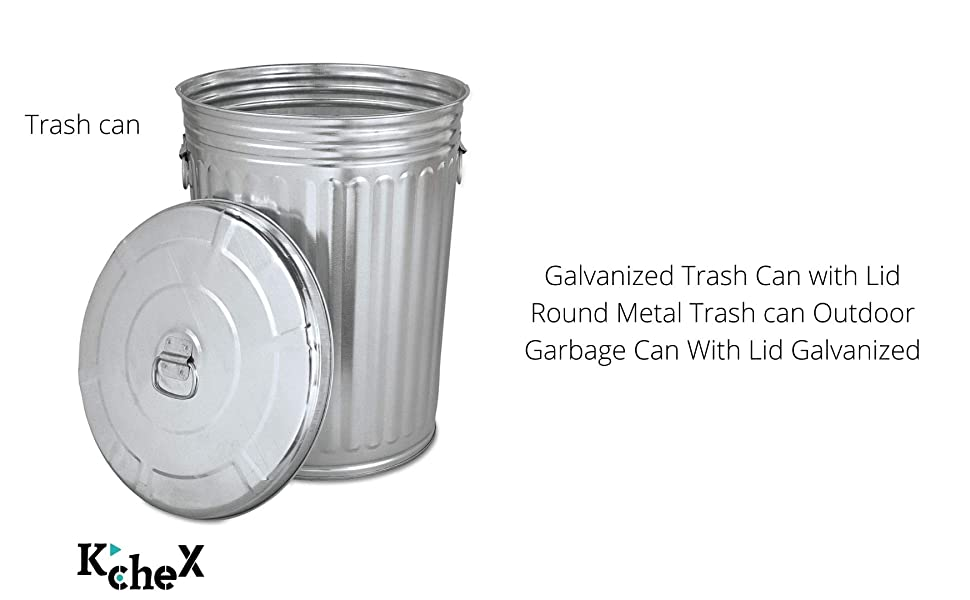 Trash can Galvanized Trash Can with Lid Round Metal Trash can Outdoor Garbage can Galvanized