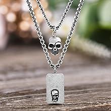 skull jewelry necklace dog tag pendant skulls men black oxidized chain layered gift steve madden him