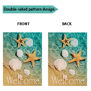 Ogiselestyle Welcome Beach Garden Flag Starfish And Seashell Double Sided Decorative Sea Small Summer Fall Yard Decor Flags For Outdoor Decoration 12 X 18 Inch Garden Outdoor