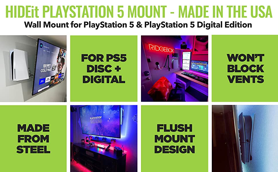Storage PS5 by FLOATING GRIP Display or Hide Your PS5 on The Wall Close to Your TV in The Super Slim but Ultra Strong Wall Mount by FLOATING GRIP White Strings Wall Mount for Playstation 5