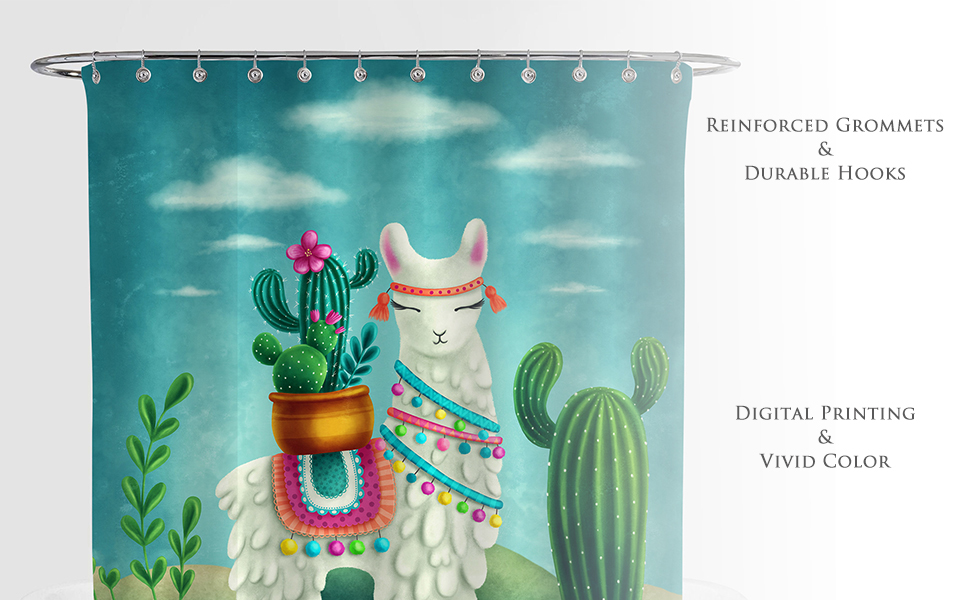 Mexican Llama with Cactus Shower Curtain