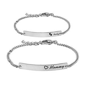 mommy baby bracelet silver
