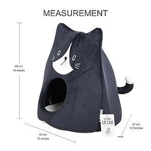 Cat Cave house sleep face black size measurement