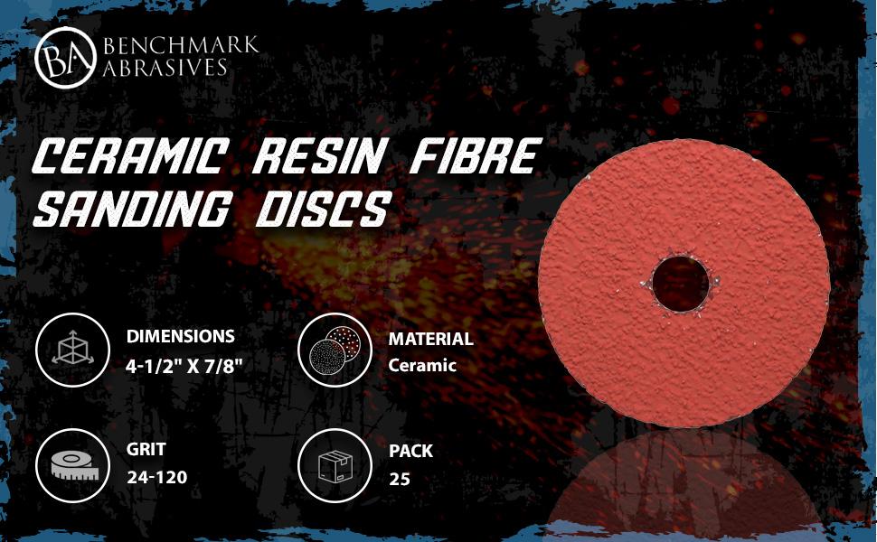 Mercer Industries 315036 Ceraflame Ceramic Resin Fiber Discs 4-1//2 x 7//8 Grit 36 25 Pack