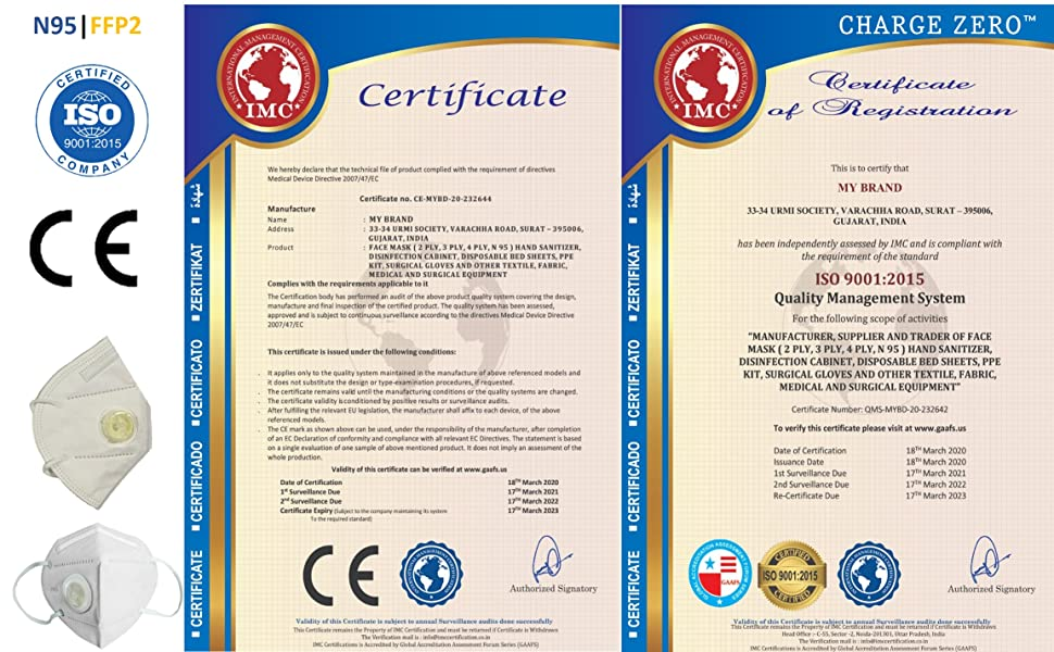 CE_ISO Certification for Charge Zeor N95 Face Mask