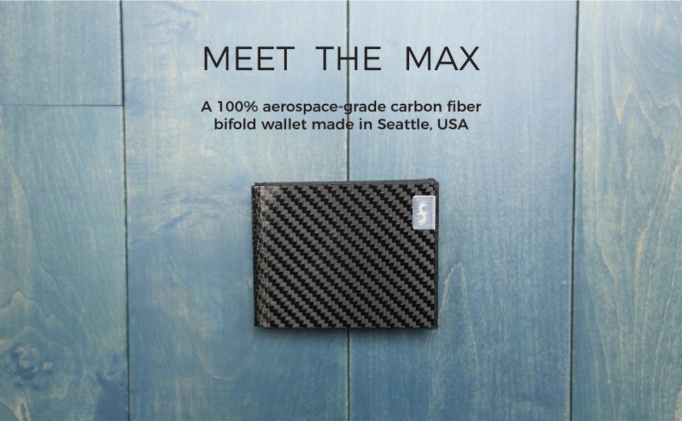 Common Fibers MAX - A 100% aerospace-grade carbon fiber bifold mens wallet made in Seattle USA