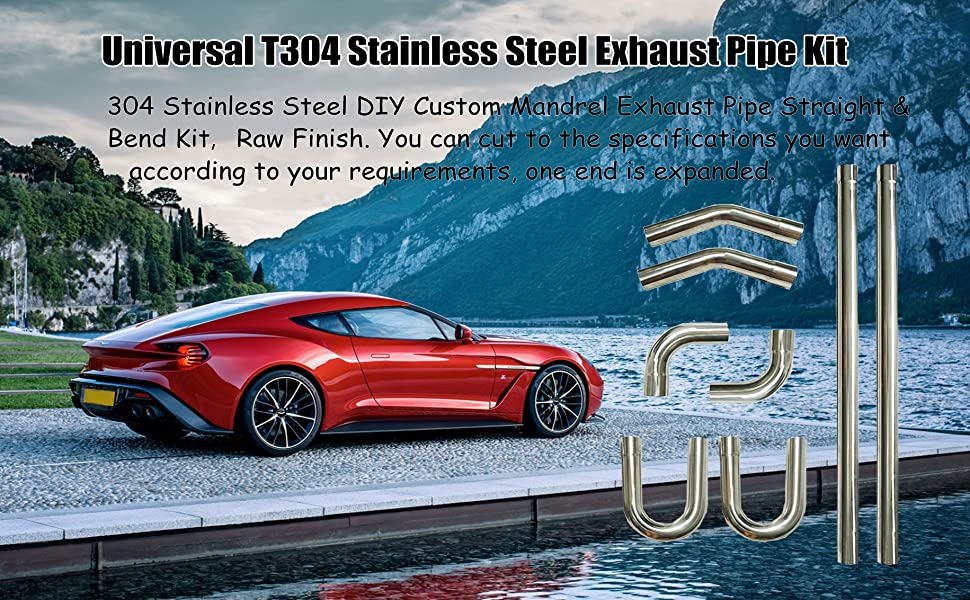 SUPERFASTRACING 2.25 T304 Stainless Steel DIY Custom Mandrel Exhaust Pipe Straight /& Bend Kit