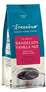 Teeccino Dandelion Vanilla Nut Herbal Coffee is a gluten-free coffee substitute made with chicory