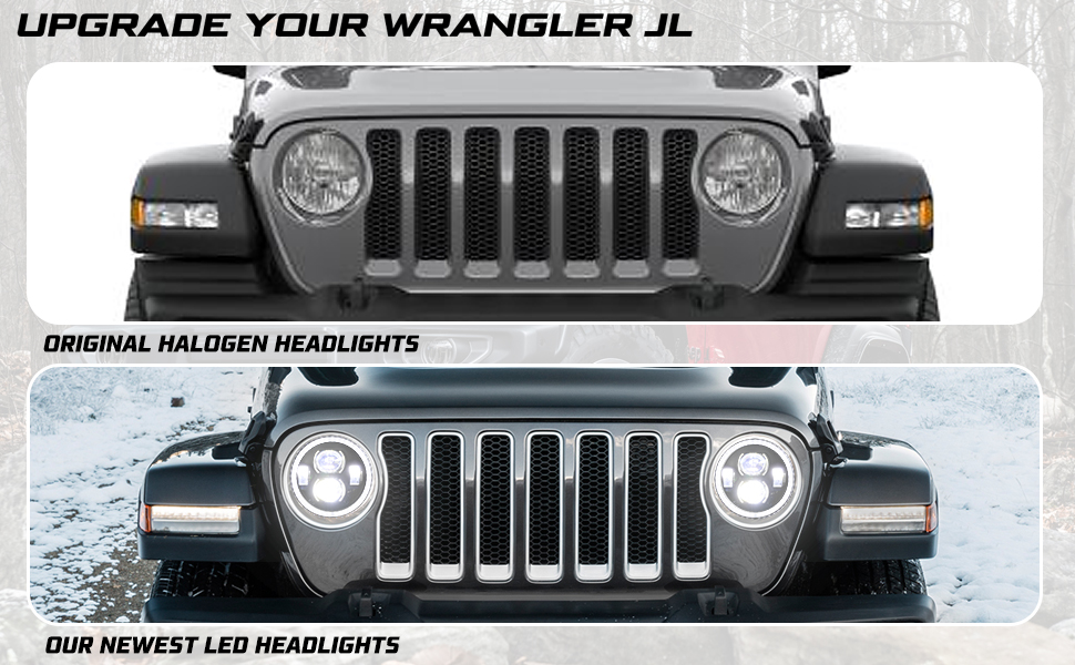 """9"""" Inch Round LED Headlights Halo DRL for 2018 2019 Jeep Wrangler JL"""