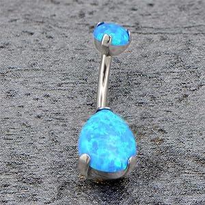 blue opal belly rings
