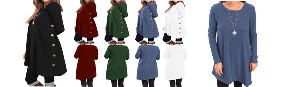 KORSIS Women's Long Sleeve Scoop Neck Button Side Tunic Dress