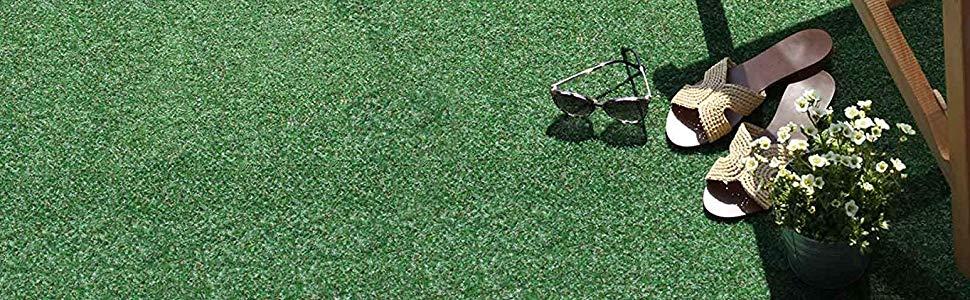 etc Jardin Gris-Bleu 1,33m x 4,00m Tapis Type Gazon Synth/étique au m/ètre Tapis Gazon Artificiel GREEN avec Picots de Drainage Terrasse Balcon Moquette dext/érieur