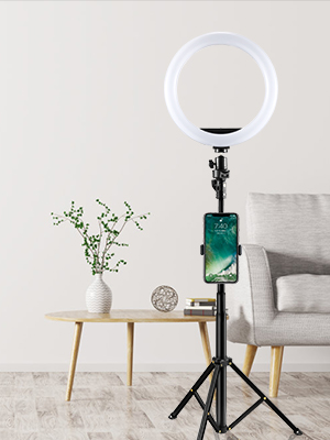 selfie light ring with iphone holder and tripod stand compatible for iphone xiaomi samsung google