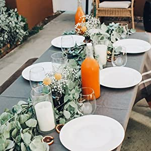 french stripe table linens gray