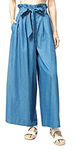 Mnyycxen Womens Casual Loose High Waist Cotton Trouser Cropped Wide Leg Pants with Big Pockets